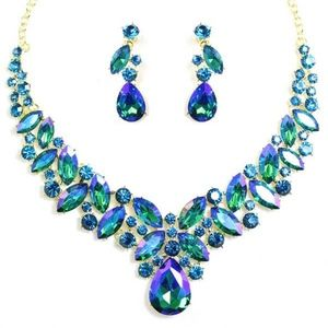Evening Necklace AB Crystals
